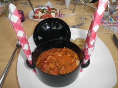 Stroganovsaus pannetje, met biefstuk, varkenshaas en kipfilet