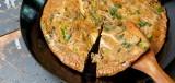 Omelet met oesterzwammen, salade en brood